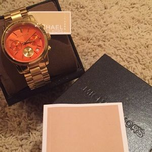 NWT MICHAEL KORS GOLD ORANGE CHRONOGRAPH WATCH BOX